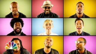 "Jimmy Fallon, Miley Cyrus & The Roots Sing ""We Can't Stop"" (A Cappella)"