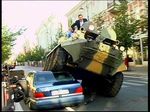 Vilnius Mayor A.Zuokas - Fights Illegally Parked Cars with Tank