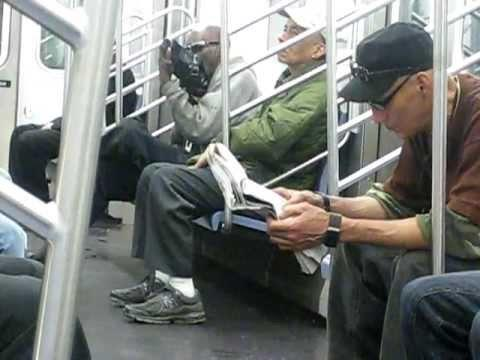 New York Subway - Man Licking Shoes on New York Subway
