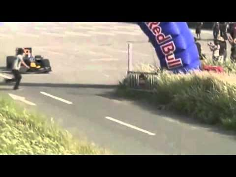 Sebastien Buemi's Red Bull showcar - Fan gets hit by Sebastien Buemi's Red Bull showcar